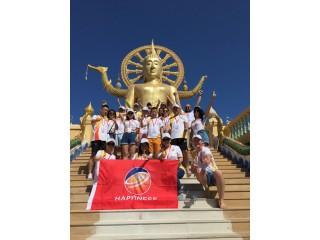 Next to the statue of Buddha